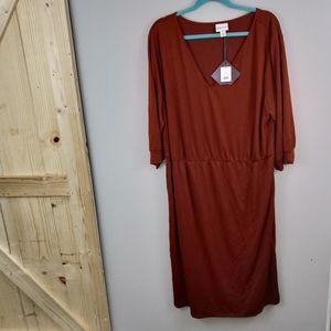 🌺Ava & Viv 3/4 Sleeve Dress - Red/Brown NWT